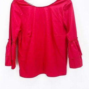 Jane & Delancey Womens Blouse Red Long Sleeve M